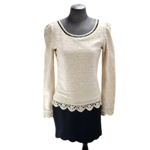 [La Chapelle] Size 38 Crocheted Scallop Trim Dress